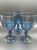 "3 Vintage Libbey Duratuff Gibraltar Dusky Blue 6.75"" Tall Stemmed Goblet Glass"