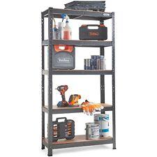 VonHaus 5 Tier Garage Shelving – Metal Racking, Steel & MDF Boltless Shelves