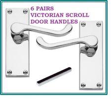 6 CHROME INTERNAL Door Handle SETS VICTORIAN Scroll LATCH 118mm x 43mm D24