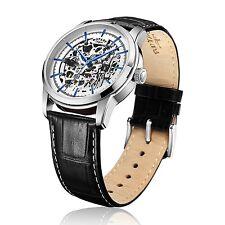 Reloj Rotary para caballero con esfera plateada Automático Correa De Cuero Negro GS00342/06 - Nuevo