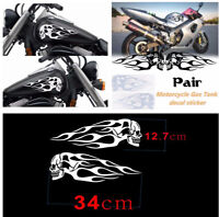 Pair of Motorcycle Skull Flame Stripes Gas Tank Vinyl Sticker Decal Universal