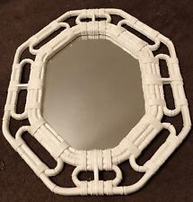 """Homco Home Interiors Octagon White Mirror Wicker Look 17 x 14"""" Vgc Made in Usa"""