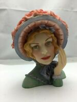 "Cameo Girls Lady Head Vase Angeline 1847 ""Blue Bonnet Beauty"" COA - 5.3/4"" Tall"