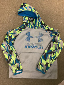UNDER ARMOUR BOYS LONG SLEEVE SHIRT HOODIE SIZE YOUTH SMALL COLD GEAR SILVER