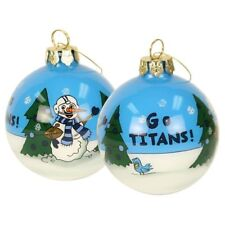 TENNESSEE TITANS NFL Hand Painted Glass Snowman Christmas X-MAS Ornament NEW