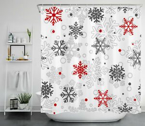 """Christmas Red and Gray Snowflakes Abstract Watercolor Fabric Shower Curtain 72"""""""