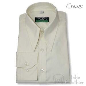 Mens Spearpoint Vintage shirt Cream 100% Cotton 1930s 40s 50s Classic WWII Gents