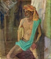 """Russischer Realist Expressionist Öl Leinwand """"Sitzender mit Turban""""  80 x 70 cm"""