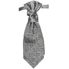 Paul Malone Plastron ( Hochzeitskrawatte ) silber grau paisley P30