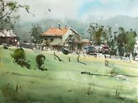 Landscape Painting Watercolor Original Moravia Countryside House Nature 12x9