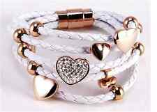 White Braided Leather Five Strand Bracelet with Hearts and Rings Charms.