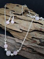 Handmade earring, bracelet & necklace set with Sterling Silver & Rose Quartz