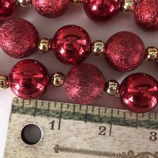 Weighted Gold Beads & Red Glass Balls Christmas Tree Garland - (9 Ft = 1 Pound)