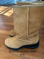 LADIES SPORTO TAN SUEDE BOOTS ---  SIZE 9.5 10 Brand New