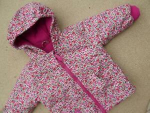 💝 JOJO MAMAN BEBE WATERPROOF Fleece Lined 2in1 COAT 12-18m Jacket 💝 Pink Ditsy