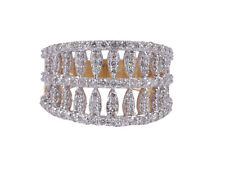 Pave 1.44 Cts Round Brilliant Cut Diamonds Anniversary Band Ring In 585 14K Gold