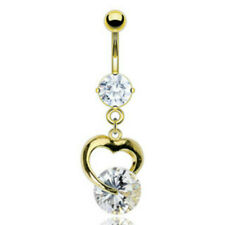 Gold Plated Prong Set Gem Navel with Heart and Solitare Gem Dangle