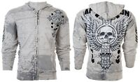 Affliction Hooded Zip Up Sweatshirt Mens VIVE RAPIDO Silver Grey S-3XL $78 NWT