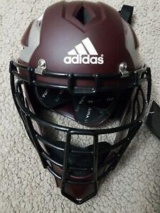 Adidas Pro Series Baseball Catchers Helmet 2.0 Maroon Silver Size 7-7 3/4 L-XL