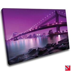 Beautiful Purple Cityscape Bridge CANVAS Wall Art Picture Print A4