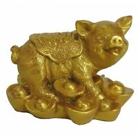 Chinese Zodiac Golden Money Pig Statue Boar Figurine Feng Shui Animal