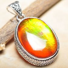"Handmade Dichroic Glass 925 Sterling Silver Vintage Design Pendant 2"" #P13998"