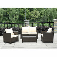4-Piece Brown Wicker Resin Patio Furniture Set w/ Beige Cushions Brown Wicker