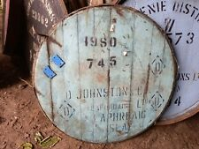 """More details for 1980 laphroaig islay whisky barrel lid braced, ready to hang 21"""" wide"""