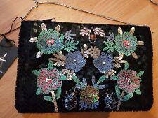 Ladies Atmosphere Sequinned, Embroidered Satin Bag Black New