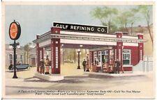 Typical Gulf Service Station, Gulf Refining Company Postcard Gas Pumps