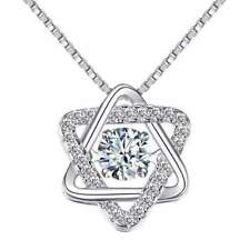 Star of David With Swivel Crystal Sterling Silver Pendant Necklace