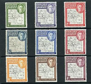 FALKLAND ISLANDS - 1946 - KG VI - THIN MAPS - COMPLETE SET - MINT - CAT£.100.00