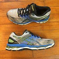 Asics GEL-NIMBUS 17 Men Sz 7.5 Running Shoes T507N Lightning Black Blue