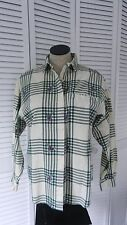 Vintage Diane Von Furstenberg novelty plaid, birds, button down flannel shirt, S