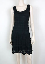 MAX STUDIO Dress Tiered Lace Overlay Fit 'N Flare Sleeveless Black S