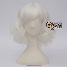 "Lolita White Curly 14"" Short Women Synthetic Cosplay Wig+Cap Heat Resistant"