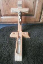 Vintage Last Rite Sick Call Crucifix Light Blond Wood Cross Candles Gold Jesus