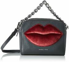 Kendall + Kylie Lucy Lips Bag Small Leather Crossbody Smokey Grey/Red