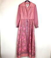 Vtg 1970s Alfred Shaheen Womens 8 Maxi Dress Long Sleeve Pink Silver