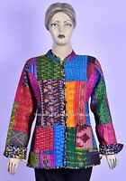Vintage Silk Reversible Kantha Patchwork Multicolor Women Jacket Machine Quilted