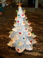"Vintage Shimmery Gold Matte Ceramic Light Up 13"" Christmas Tree Only No Base"