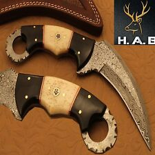 CUSTOM HAND MADE DAMASCUS STEEL HUNTING KR AMBIT KNIFE (QN-326}