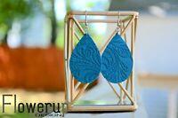 Handmade lightweight blue floral embossed real leather boho earrings