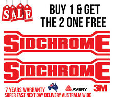2 x SIDCHROME DECALS, STICKERS, FOR TOOLS, MECHANIC, CARS, UTES, BOATS, 4WD,
