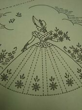 Vintage Southern Belle Embroidered Pillowcases Pattern Fancy Ribbons & Lace 40s
