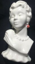 Vintage White Ceramic Perfume Lamp Burner~ Lady Bust~
