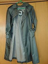 ~FLEET STREET WOMENS RAINCOAT GREEN CHECKERED TRENCH COAT POLYESTER COAT SIZE 6