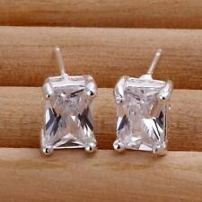 Fashion 925Sterling Solid Silver Jewelry Crystal Stud Earrings For Women E098