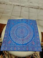 "Polo Pillow Cover Decorative Royal Blue 15.5"" X 15.5"" Square Silk EUC FAST SHIP"