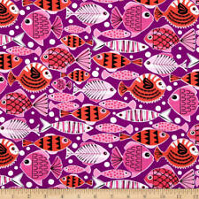 Michael Miller Pets A'Plenty School's Out Purple Fabric  By the Yard  Fab